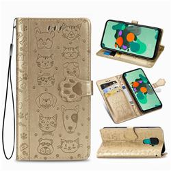 Embossing Dog Paw Kitten and Puppy Leather Wallet Case for Huawei Mate 30 Lite(Nova 5i Pro) - Champagne Gold