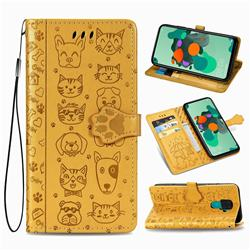 Embossing Dog Paw Kitten and Puppy Leather Wallet Case for Huawei Mate 30 Lite(Nova 5i Pro) - Yellow