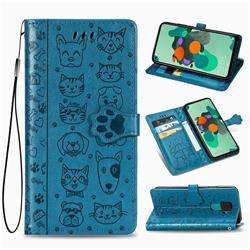Embossing Dog Paw Kitten and Puppy Leather Wallet Case for Huawei Mate 30 Lite(Nova 5i Pro) - Blue