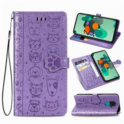Embossing Dog Paw Kitten and Puppy Leather Wallet Case for Huawei Mate 30 Lite(Nova 5i Pro) - Purple