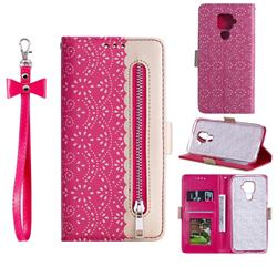 Luxury Lace Zipper Stitching Leather Phone Wallet Case for Huawei Mate 30 Lite(Nova 5i Pro) - Rose