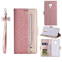 Luxury Lace Zipper Stitching Leather Phone Wallet Case for Huawei Mate 30 Lite(Nova 5i Pro) - Pink