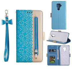 Luxury Lace Zipper Stitching Leather Phone Wallet Case for Huawei Mate 30 Lite(Nova 5i Pro) - Blue