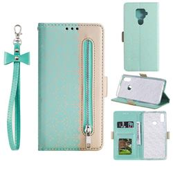 Luxury Lace Zipper Stitching Leather Phone Wallet Case for Huawei Mate 30 Lite(Nova 5i Pro) - Green