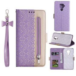 Luxury Lace Zipper Stitching Leather Phone Wallet Case for Huawei Mate 30 Lite(Nova 5i Pro) - Purple