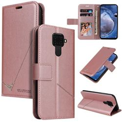 GQ.UTROBE Right Angle Silver Pendant Leather Wallet Phone Case for Huawei Mate 30 Lite(Nova 5i Pro) - Rose Gold