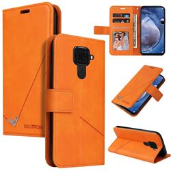 GQ.UTROBE Right Angle Silver Pendant Leather Wallet Phone Case for Huawei Mate 30 Lite(Nova 5i Pro) - Orange