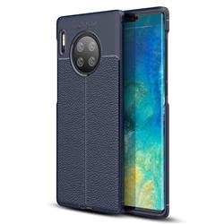 Luxury Auto Focus Litchi Texture Silicone TPU Back Cover for Huawei Mate 30 Pro - Dark Blue