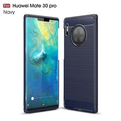 Luxury Carbon Fiber Brushed Wire Drawing Silicone TPU Back Cover for Huawei Mate 30 Pro - Navy