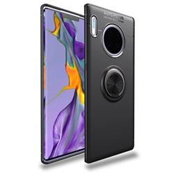 Auto Focus Invisible Ring Holder Soft Phone Case for Huawei Mate 30 Pro - Black