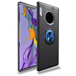 Auto Focus Invisible Ring Holder Soft Phone Case for Huawei Mate 30 Pro - Black Blue