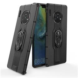 Alita Battle Angel Armor Metal Ring Grip Shockproof Dual Layer Rugged Hard Cover for Huawei Mate 30 Pro - Black