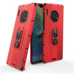 Alita Battle Angel Armor Metal Ring Grip Shockproof Dual Layer Rugged Hard Cover for Huawei Mate 30 Pro - Red