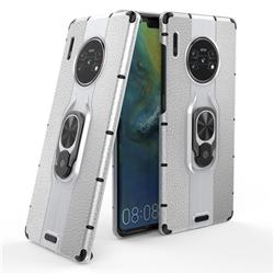 Alita Battle Angel Armor Metal Ring Grip Shockproof Dual Layer Rugged Hard Cover for Huawei Mate 30 Pro - Silver