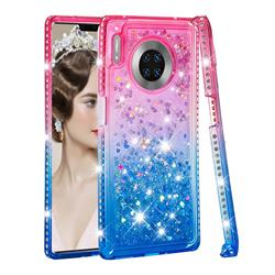 Diamond Frame Liquid Glitter Quicksand Sequins Phone Case for Huawei Mate 30 Pro - Pink Blue