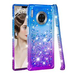 Diamond Frame Liquid Glitter Quicksand Sequins Phone Case for Huawei Mate 30 Pro - Blue Purple