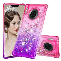 Rainbow Gradient Liquid Glitter Quicksand Sequins Phone Case for Huawei Mate 30 Pro - Pink Purple