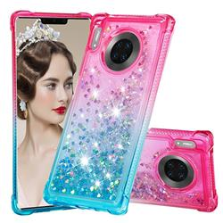 Rainbow Gradient Liquid Glitter Quicksand Sequins Phone Case for Huawei Mate 30 Pro - Pink Blue