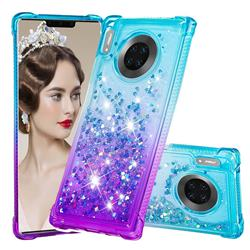 Rainbow Gradient Liquid Glitter Quicksand Sequins Phone Case for Huawei Mate 30 Pro - Blue Purple