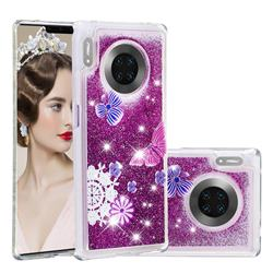 Purple Flower Butterfly Dynamic Liquid Glitter Quicksand Soft TPU Case for Huawei Mate 30 Pro
