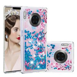 Blue Plum Blossom Dynamic Liquid Glitter Quicksand Soft TPU Case for Huawei Mate 30 Pro
