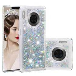 Dynamic Liquid Glitter Quicksand Sequins TPU Phone Case for Huawei Mate 30 Pro - Silver