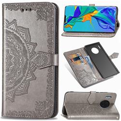 Embossing Imprint Mandala Flower Leather Wallet Case for Huawei Mate 30 Pro - Gray