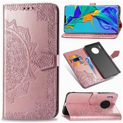 Embossing Imprint Mandala Flower Leather Wallet Case for Huawei Mate 30 Pro - Rose Gold