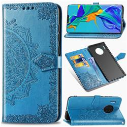Embossing Imprint Mandala Flower Leather Wallet Case for Huawei Mate 30 Pro - Blue
