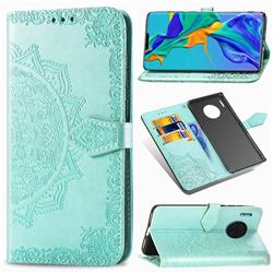 Embossing Imprint Mandala Flower Leather Wallet Case for Huawei Mate 30 Pro - Green