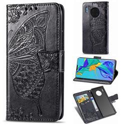 Embossing Mandala Flower Butterfly Leather Wallet Case for Huawei Mate 30 Pro - Black