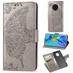 Embossing Mandala Flower Butterfly Leather Wallet Case for Huawei Mate 30 Pro - Gray