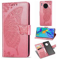 Embossing Mandala Flower Butterfly Leather Wallet Case for Huawei Mate 30 Pro - Pink