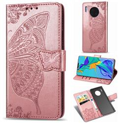 Embossing Mandala Flower Butterfly Leather Wallet Case for Huawei Mate 30 Pro - Rose Gold
