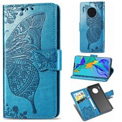 Embossing Mandala Flower Butterfly Leather Wallet Case for Huawei Mate 30 Pro - Blue