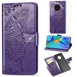 Embossing Mandala Flower Butterfly Leather Wallet Case for Huawei Mate 30 Pro - Dark Purple