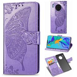 Embossing Mandala Flower Butterfly Leather Wallet Case for Huawei Mate 30 Pro - Light Purple