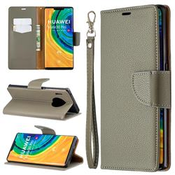 Classic Luxury Litchi Leather Phone Wallet Case for Huawei Mate 30 Pro - Gray