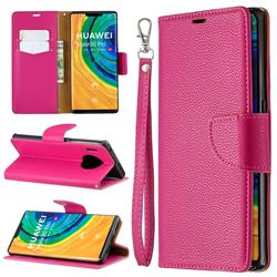 Classic Luxury Litchi Leather Phone Wallet Case for Huawei Mate 30 Pro - Rose