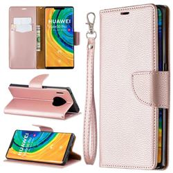 Classic Luxury Litchi Leather Phone Wallet Case for Huawei Mate 30 Pro - Golden
