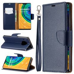 Classic Luxury Litchi Leather Phone Wallet Case for Huawei Mate 30 Pro - Blue