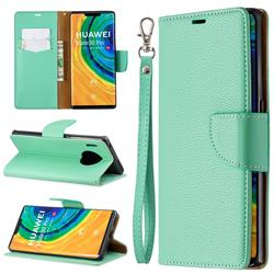 Classic Luxury Litchi Leather Phone Wallet Case for Huawei Mate 30 Pro - Green
