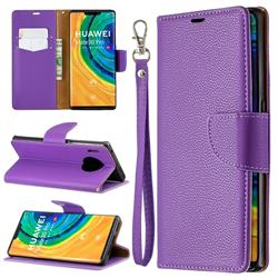 Classic Luxury Litchi Leather Phone Wallet Case for Huawei Mate 30 Pro - Purple