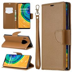Classic Luxury Litchi Leather Phone Wallet Case for Huawei Mate 30 Pro - Brown