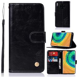 Luxury Retro Leather Wallet Case for Huawei Mate 30 Pro - Black
