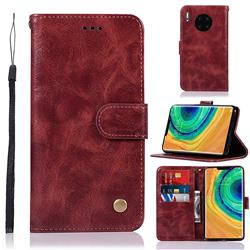 Luxury Retro Leather Wallet Case for Huawei Mate 30 Pro - Wine Red