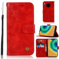 Luxury Retro Leather Wallet Case for Huawei Mate 30 Pro - Red