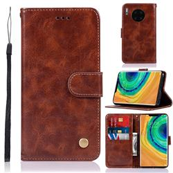 Luxury Retro Leather Wallet Case for Huawei Mate 30 Pro - Brown