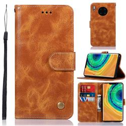 Luxury Retro Leather Wallet Case for Huawei Mate 30 Pro - Golden