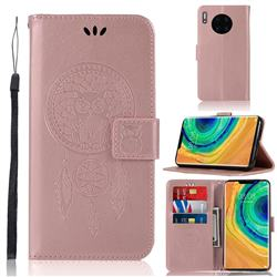 Intricate Embossing Owl Campanula Leather Wallet Case for Huawei Mate 30 Pro - Rose Gold
